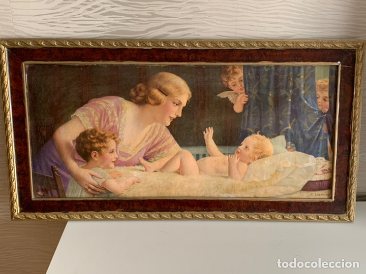 PRECIOSO CUADRO ( 88X48 CM ). LAMINA VIRGEN (Arte - Arte Religioso - Pintura Religiosa - Otros)
