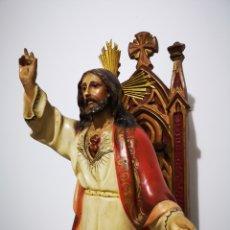 Arte: SAGRADO CORAZÓN DE JESÚS AÑOS 40 50 CENTÍMETROS.. Lote 228452565