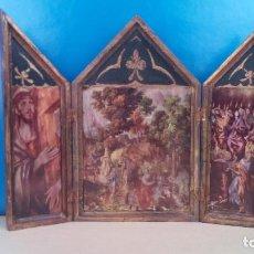 Arte: ANTIGUO TRIPTICO RELIGIOSO 33 CM DE ALTO. Lote 228826665