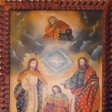 Arte: ÓLEO S/LIENZO - SAGRADA FAMILIA - ESCUELA CUZQUEÑA S. XX MARCO MADERA TALLADA. DIM.- 60X40CMS.. Lote 228928800