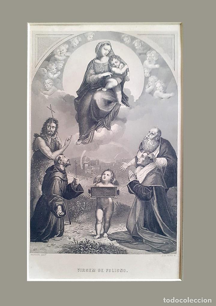 GRABADO S. XIX VIRGEN DE FULIGNO CON PASPARTÚ Y ACETATO TRANSPARENTE PROTECTOR (Arte - Arte Religioso - Litografías)