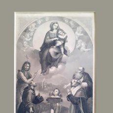 Arte: GRABADO S. XIX VIRGEN DE FULIGNO CON PASPARTÚ Y ACETATO TRANSPARENTE PROTECTOR. Lote 229164580
