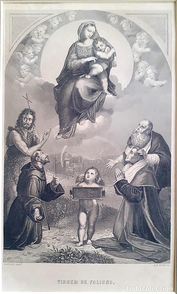 Arte: Grabado s. XIX Virgen de Fuligno con paspartú y acetato transparente protector - Foto 2 - 229164580