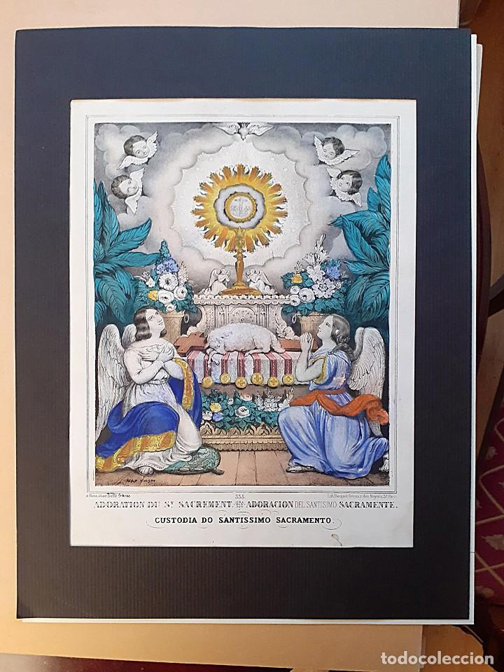 LITOGRAFÍA COLOR S. XIX ADORACIÓN Y CUSTODIA DEL SANTÍSIMO SACRAMENTO (Arte - Arte Religioso - Litografías)