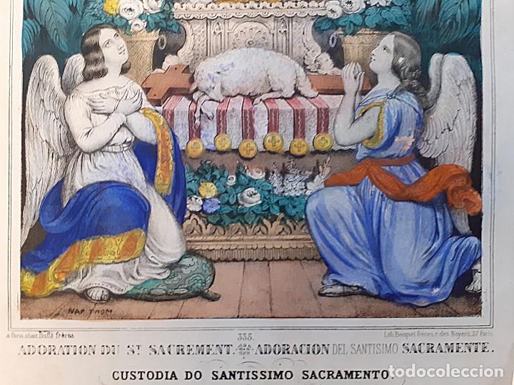 Arte: Litografía color s. XIX Adoración y custodia del Santísimo Sacramento - Foto 2 - 229169665