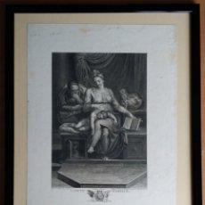 Arte: GRABADO DE BAUDOUIN SOBRE UNA OBRA DE MIGUELANGEL: LA SAGRADA FAMILIA / CIRCA 1780/ SELLO HÚMEDO. Lote 93844720