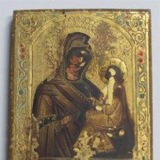 Arte: ICONO PINTADO SOBRE FONDO EN PAN DE ORO. VIRGEN CON NIÑO. RUSIA?. INSCRIPCION AL DORSO.1914. Lote 229184100