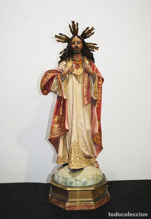 FIGURA IMAGEN RELIGIOSA ANTIGUA SAGRADO CORAZÓN DE JESÚS (Arte - Arte Religioso - Escultura)