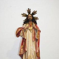 Arte: FIGURA IMAGEN RELIGIOSA ANTIGUA SAGRADO CORAZÓN DE JESÚS. Lote 229406610