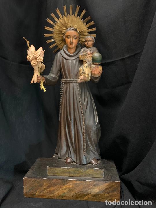 Arte: Excepcional talla de madera, SAN ANTONIO, 45cms de altura total, leer mas - Foto 2 - 229508690