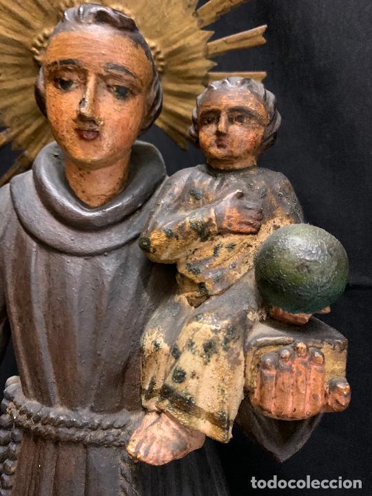 Arte: Excepcional talla de madera, SAN ANTONIO, 45cms de altura total, leer mas - Foto 3 - 229508690