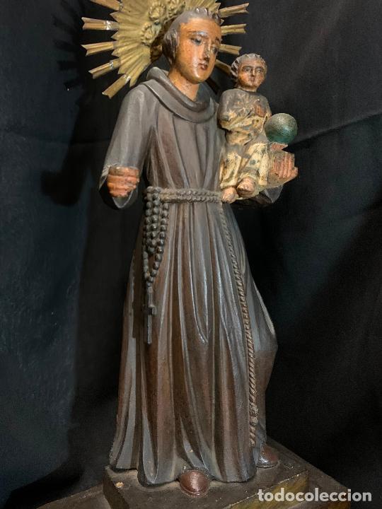 Arte: Excepcional talla de madera, SAN ANTONIO, 45cms de altura total, leer mas - Foto 15 - 229508690