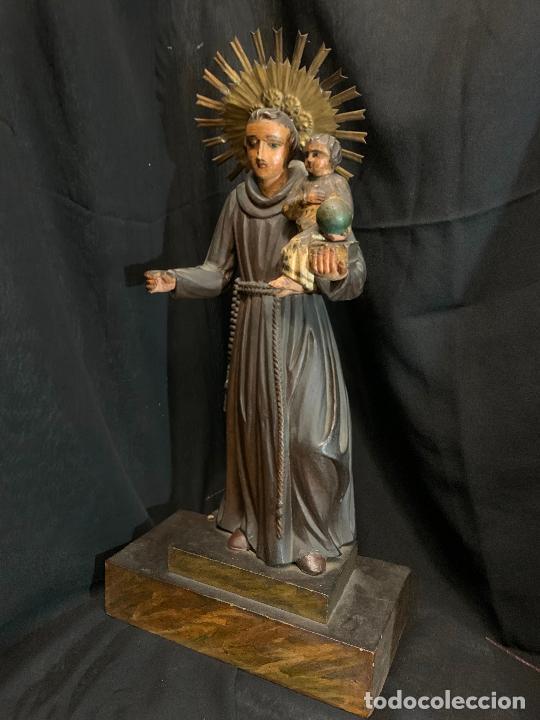 Arte: Excepcional talla de madera, SAN ANTONIO, 45cms de altura total, leer mas - Foto 16 - 229508690