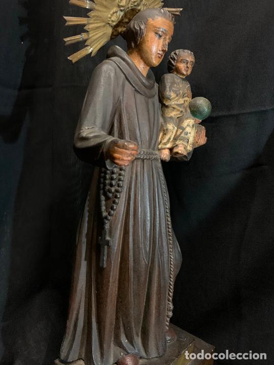 Arte: Excepcional talla de madera, SAN ANTONIO, 45cms de altura total, leer mas - Foto 17 - 229508690