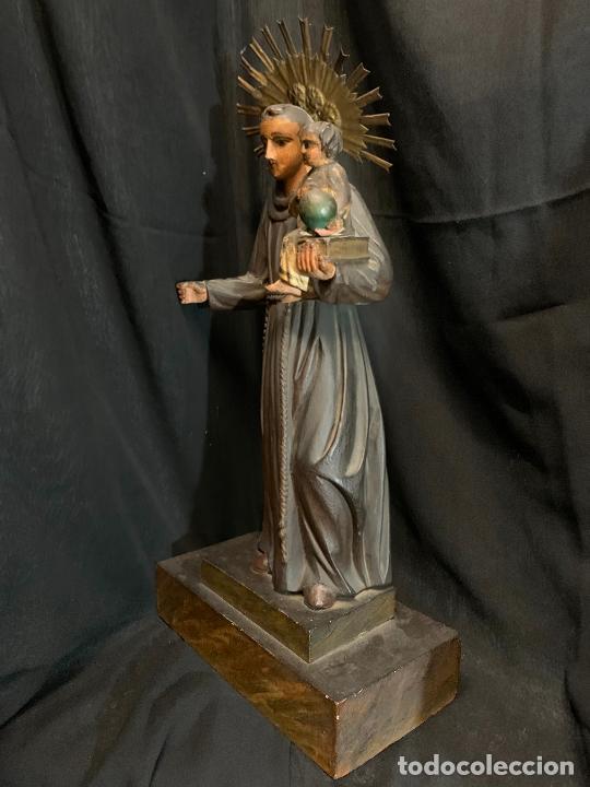 Arte: Excepcional talla de madera, SAN ANTONIO, 45cms de altura total, leer mas - Foto 23 - 229508690