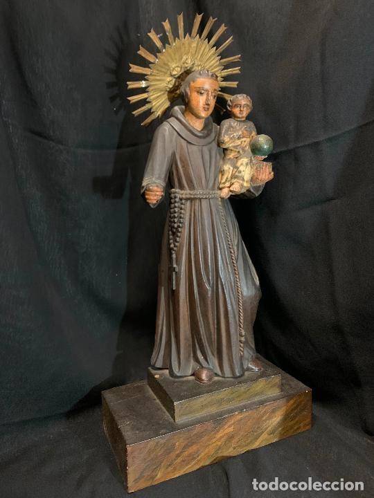 Arte: Excepcional talla de madera, SAN ANTONIO, 45cms de altura total, leer mas - Foto 24 - 229508690