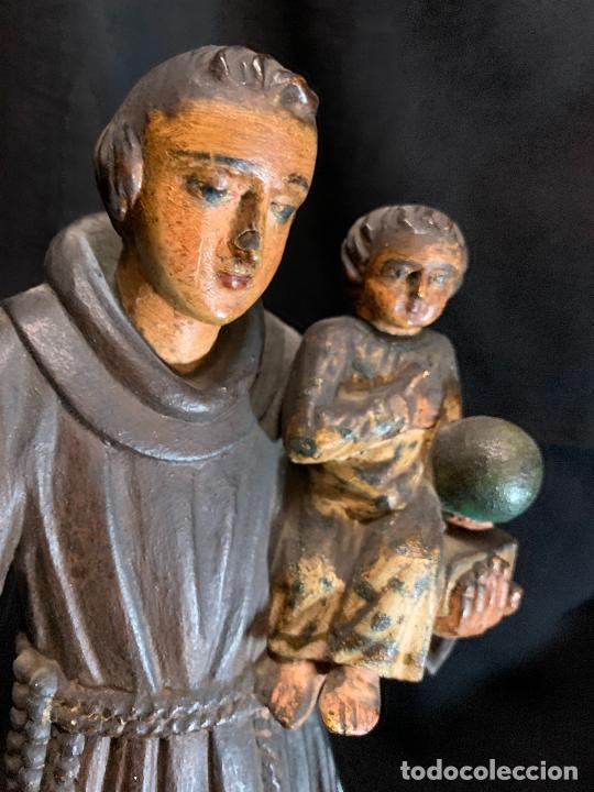 Arte: Excepcional talla de madera, SAN ANTONIO, 45cms de altura total, leer mas - Foto 35 - 229508690