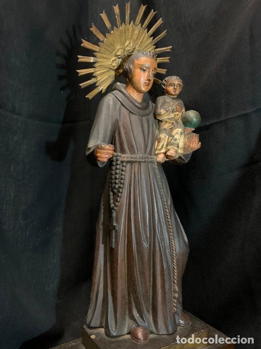 Arte: Excepcional talla de madera, SAN ANTONIO, 45cms de altura total, leer mas - Foto 47 - 229508690