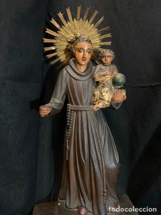 Arte: Excepcional talla de madera, SAN ANTONIO, 45cms de altura total, leer mas - Foto 48 - 229508690