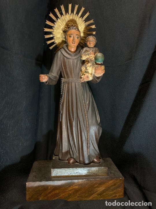 Arte: Excepcional talla de madera, SAN ANTONIO, 45cms de altura total, leer mas - Foto 53 - 229508690