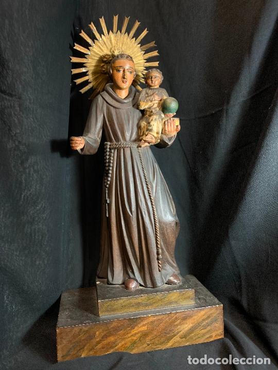 Arte: Excepcional talla de madera, SAN ANTONIO, 45cms de altura total, leer mas - Foto 54 - 229508690