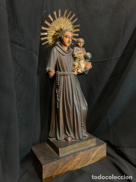 Arte: Excepcional talla de madera, SAN ANTONIO, 45cms de altura total, leer mas - Foto 57 - 229508690