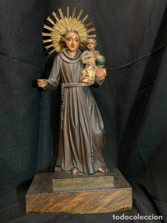 EXCEPCIONAL TALLA DE MADERA, SAN ANTONIO, 45CMS DE ALTURA TOTAL, LEER MAS (Arte - Arte Religioso - Escultura)