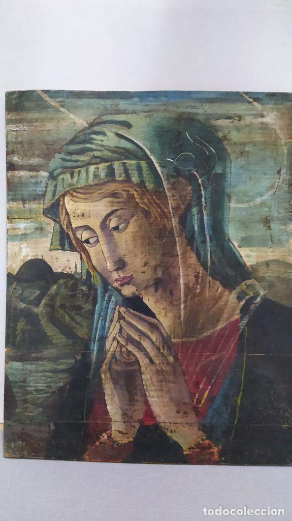 PINTURA SOBRE TABLA DE ESTILO FLAMENCO, SIGLO XIX. TAL Y COMO SE VE EN LAS FOTOS. (Arte - Arte Religioso - Pintura Religiosa - Oleo)