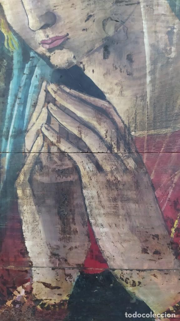Arte: Pintura sobre tabla de estilo flamenco, siglo XIX. Tal y como se ve en las fotos. - Foto 5 - 229671185