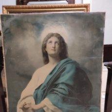 Arte: ANTIGUA LITOGRAFÍA RELIGIOSA PEGADA A LIENZO, GRAN TAMAÑO, 74X100CM. Lote 229882780