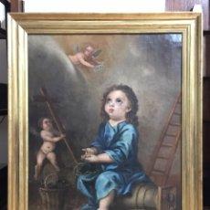 Arte: PINTURA RELIGIOSA ANTIGUA - ANTIGUO ÓLEO SOBRE LIENZO - NIÑO DE LA ESPINA - SIGLO XVIII. Lote 229903350