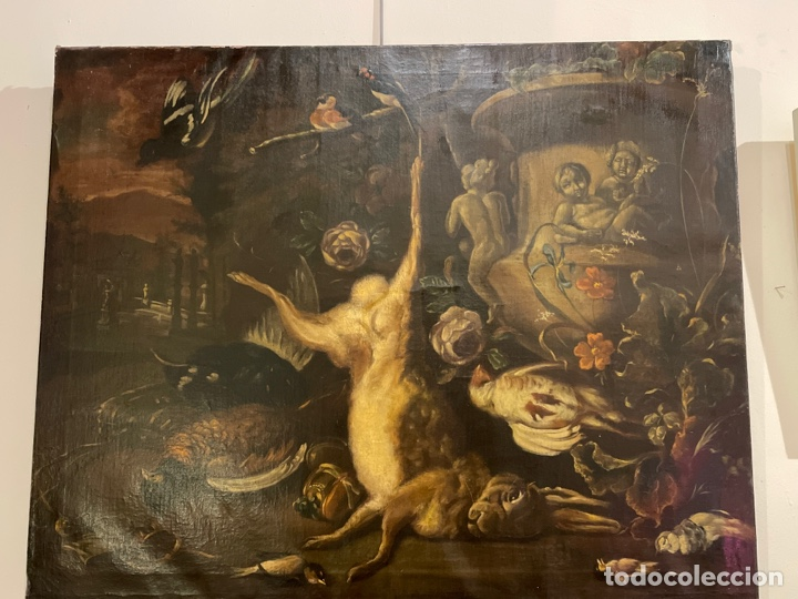 TALLER DE JAN WEENIX BODEGÓN DE CAZA CON PAISAJE, ESCUELA HOLANDESA DEL SIGLO XVII (Arte - Arte Religioso - Pintura Religiosa - Oleo)