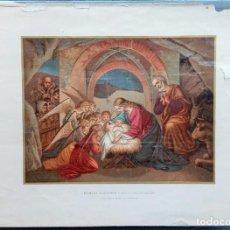 Arte: LAMINA RELIGIOSA. PRIMERA ADORACION A JESUS RECIEN NACIDO. COPIA DE DIBUJO DE OVERWECK. W. Lote 230373460