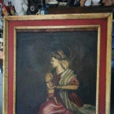 Arte: PRECIOSO ÓLEO SOBRE LIENZO, VIRGEN CON NIÑO.GRECIA.SIGLO XVIII-XIX. Lote 230381870
