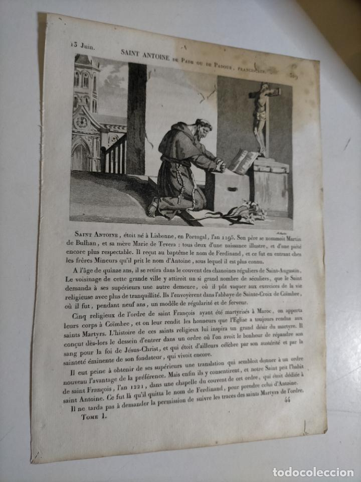 Arte: 1825 GRABADO RELIGIOSO - - ORIGINAL SANTORAL - SAINT SAN ANTONIO ANTOINE DE PADE PADUA FRANCISCANO - Foto 2 - 230758690