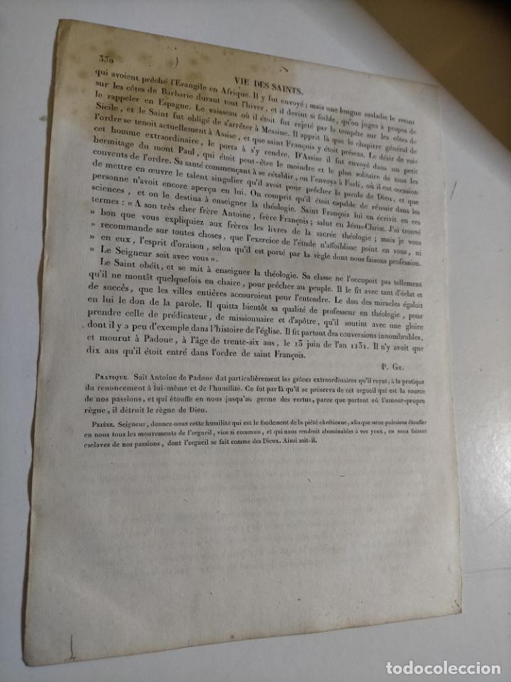 Arte: 1825 GRABADO RELIGIOSO - - ORIGINAL SANTORAL - SAINT SAN ANTONIO ANTOINE DE PADE PADUA FRANCISCANO - Foto 4 - 230758690