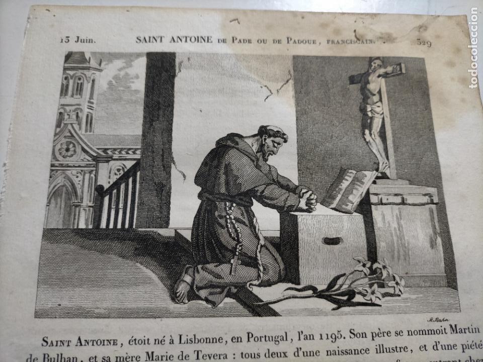 1825 GRABADO RELIGIOSO - - ORIGINAL SANTORAL - SAINT SAN ANTONIO ANTOINE DE PADE PADUA FRANCISCANO (Arte - Arte Religioso - Grabados)