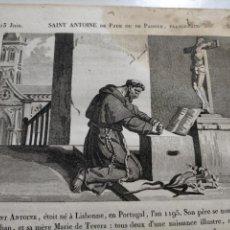 Arte: 1825 GRABADO RELIGIOSO - - ORIGINAL SANTORAL - SAINT SAN ANTONIO ANTOINE DE PADE PADUA FRANCISCANO. Lote 230758690