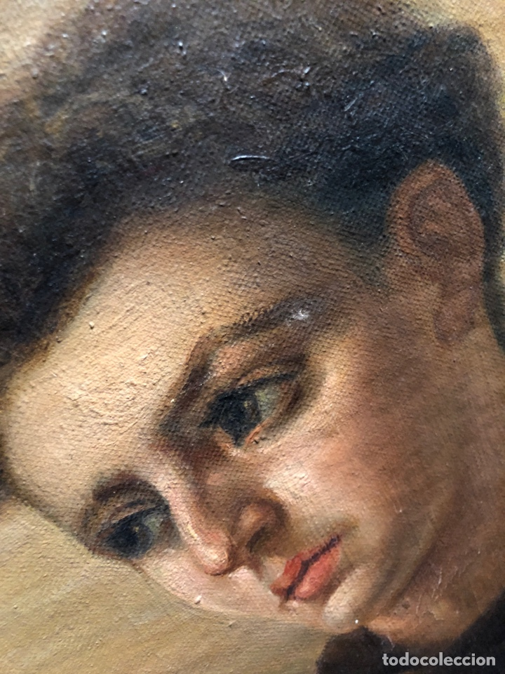 Arte: Cuadro religioso de óleo sobre lienzo para restaurar siglo XVIII 84x67cm - Foto 9 - 230998925