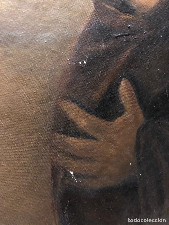 Arte: Cuadro religioso de óleo sobre lienzo para restaurar siglo XVIII 84x67cm - Foto 10 - 230998925