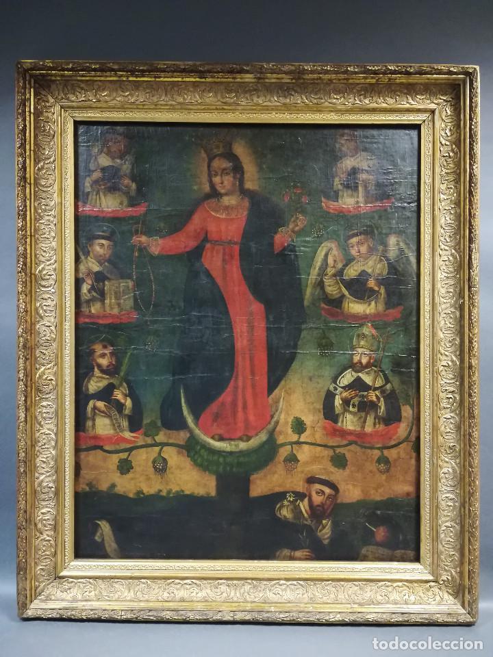 OLEO VIRGEN DE LA ESCALERA SIGLO XVIII (Arte - Arte Religioso - Pintura Religiosa - Oleo)