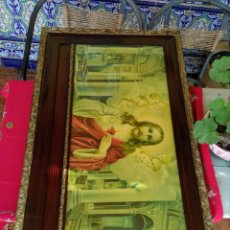 Arte: MARCO ANTIGUO CON LÁMINA DEL CORAZÓN DE JESÚS. Lote 231297070