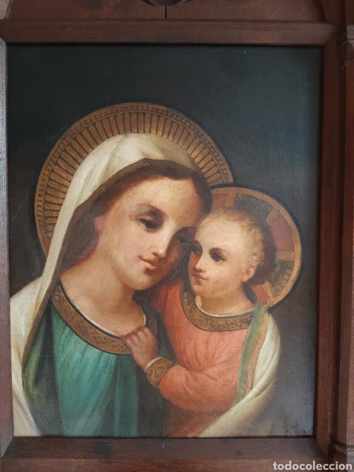 Arte: RETABLO DE MADERA CON EXCELENTE PINTURA AL ÓLEO SOBRE LIENZO - VIRGEN CON NIÑO - CAPILLA - S.XIX - Foto 4 - 231348950