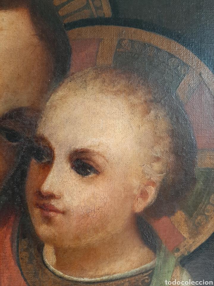 Arte: RETABLO DE MADERA CON EXCELENTE PINTURA AL ÓLEO SOBRE LIENZO - VIRGEN CON NIÑO - CAPILLA - S.XIX - Foto 7 - 231348950