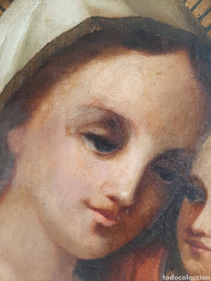 Arte: RETABLO DE MADERA CON EXCELENTE PINTURA AL ÓLEO SOBRE LIENZO - VIRGEN CON NIÑO - CAPILLA - S.XIX - Foto 8 - 231348950