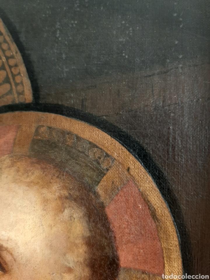 Arte: RETABLO DE MADERA CON EXCELENTE PINTURA AL ÓLEO SOBRE LIENZO - VIRGEN CON NIÑO - CAPILLA - S.XIX - Foto 10 - 231348950
