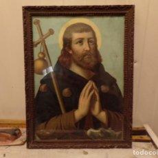 Arte: ANTIGUO CUADRO MARCO DE MADERA RELIGIOSA LITOGRAFIA SANTO. Lote 245127995