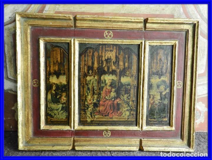 TRIPTICO RELIGIOSO DE MADERA CON IMAGENES DE LA VIRGEN Y EL NIÑO (Arte - Arte Religioso - Trípticos)