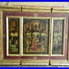 Arte: TRIPTICO RELIGIOSO DE MADERA CON IMAGENES DE LA VIRGEN Y EL NIÑO. Lote 231380465