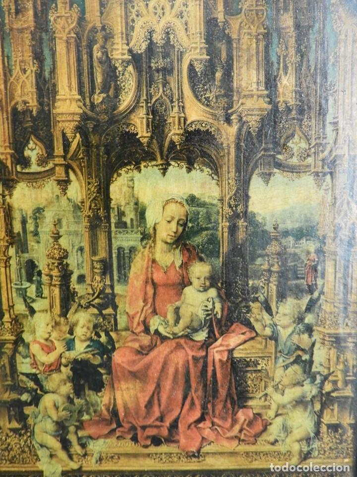 Arte: TRIPTICO RELIGIOSO DE MADERA CON IMAGENES DE LA VIRGEN Y EL NIÑO - Foto 2 - 231380465